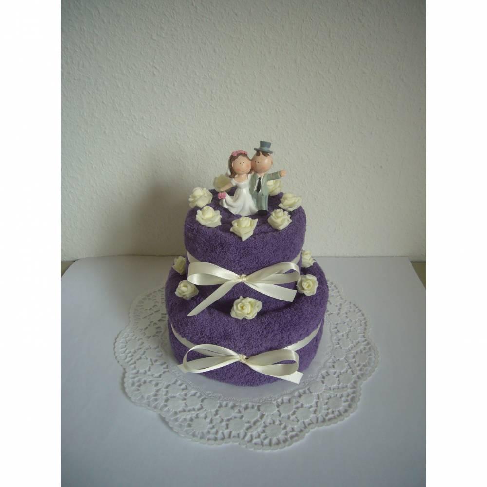 Hochzeitsgeschenk Geschenk Hochzeit Handtuch lila violett Rosen Bild 1