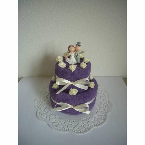 Hochzeitsgeschenk Geschenk Hochzeit Handtuch lila violett Rosen