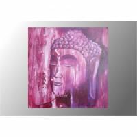 Buddha Buddhabild Acrylmalerei rosa lila Original Gemälde Wandbild Keilrahmenbild  Bild 1