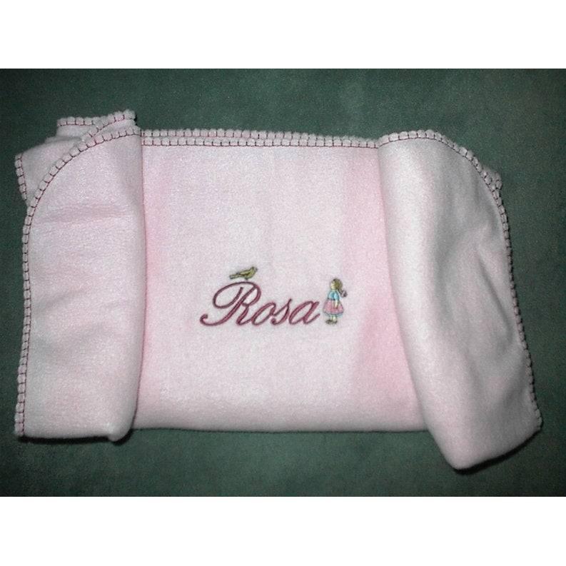 Baby- Kinder- Decke- Fleece-  bestickt mit Rosa Bild 1