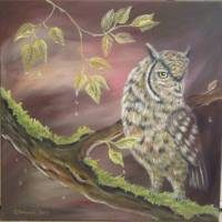 Acrylgemälde AUTUMN NIGHTS II - Eulenbild gemalt auf Leinwand 60cm x 60cm