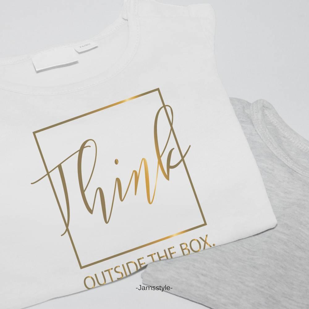 """Bügelbild Applikation """"think outside the box"""" Plott zum Aufbügeln auf Kleidung & Accessoires Bild 1"""