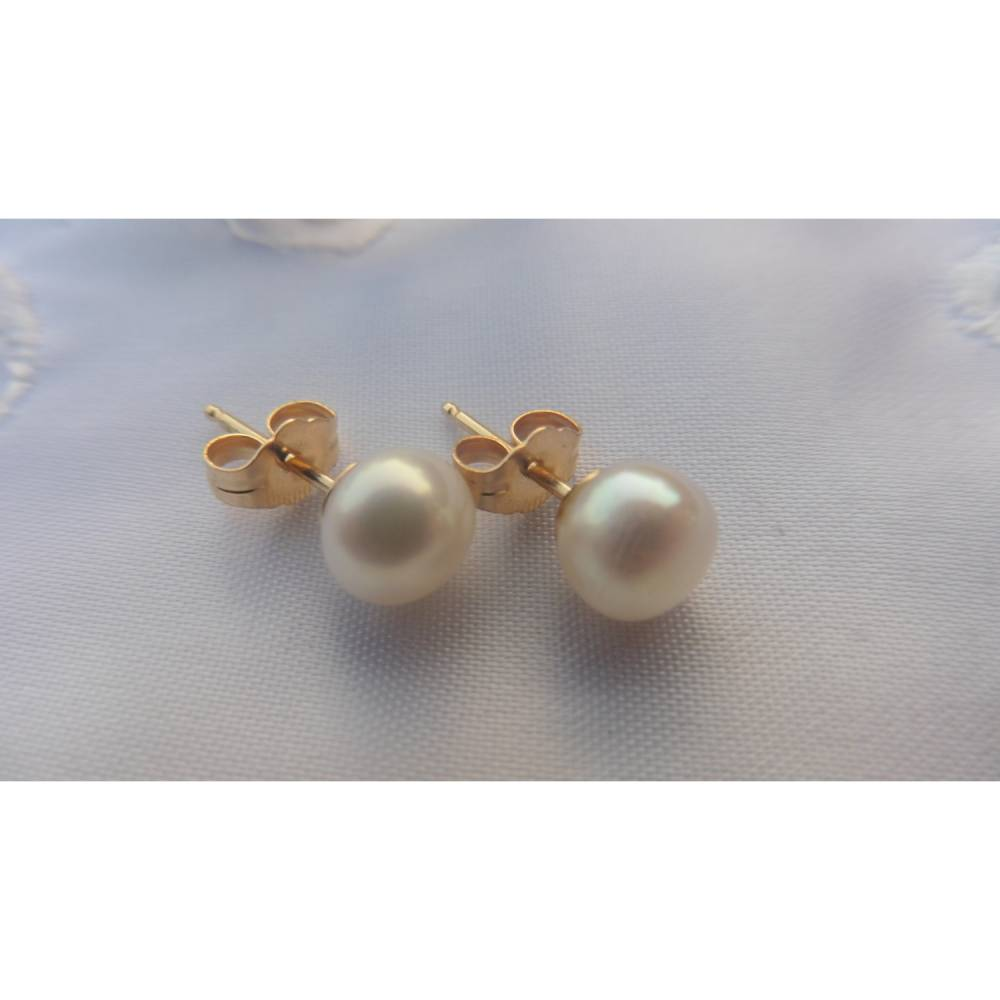Perlen-Ohrstecker, echte runde Perlen  6-7 mm, Brautohrringe, Hochzeitsschmuck, weiß  ivory Bild 1