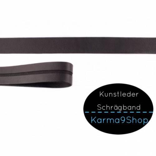 Kunstleder Schrägband 20mm schwarz