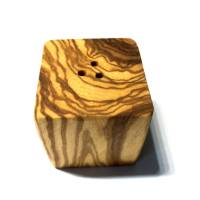 Salzstreuer in Würfelform aus Olivenholz Bild 1