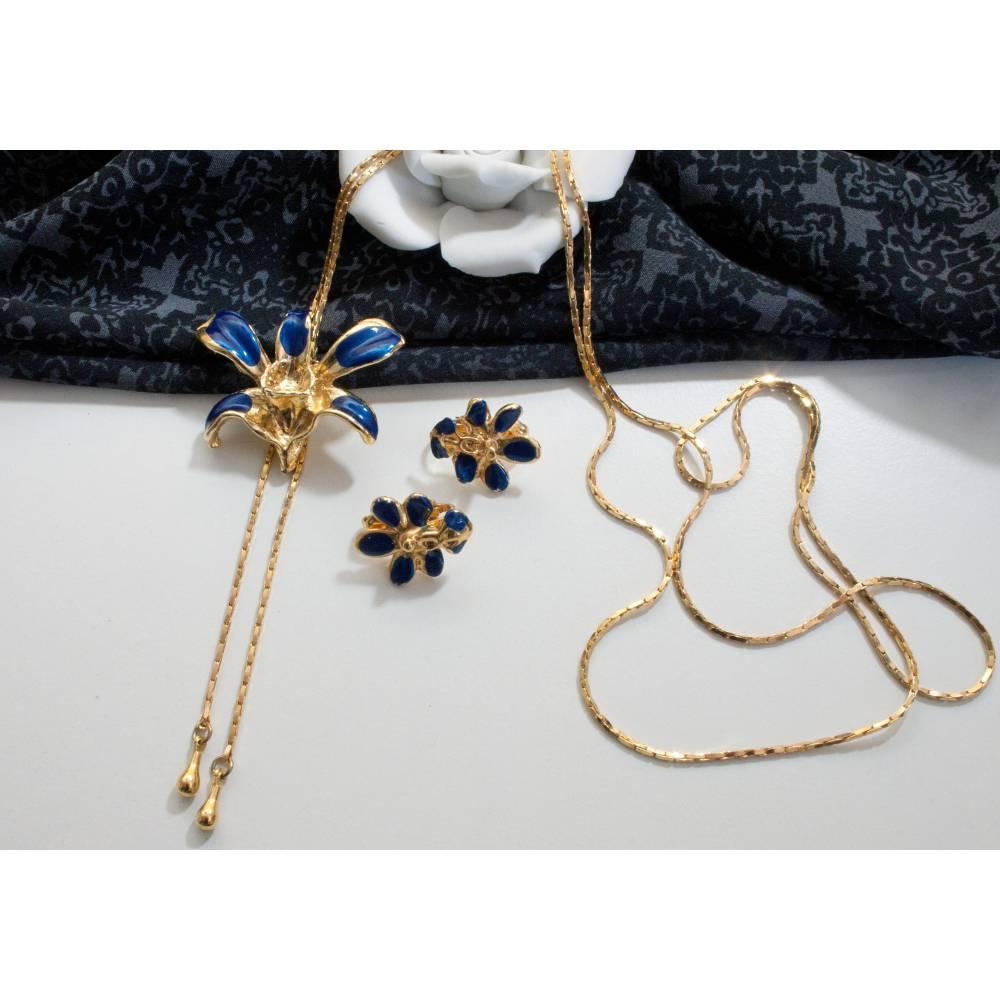 Schmuckset Schmuckset Orchidee blau, Halskette, Ohrclips, 70er, 80er Jahre, Retro, Blumen Schmuckset, Trödel Dings da Bild 1