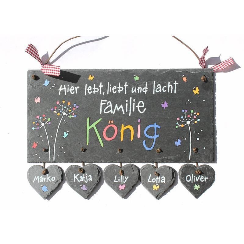 Schieferheld Namensschild, Namensschild Familie personalisiert, Namensschild Schiefer handbemalt mit Herzanhänger Bild 1