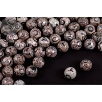 5 Stk. leicht facettierte Dzi Tibet Achat Perlen 14mm Bild 1