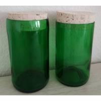 Vorratsglas mit Korkverschluss aus Sektflaschen für verschiedene Vorräte Bild 1