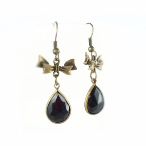 Ohrringe, Ohrhänger, Vintage-Stil, bronze, einfasster Glasstein,