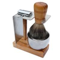 Halter SYLT für Rasierhobel und Rasierpinsel aus Olivenholz inkl. Metalltiegel Bild 1