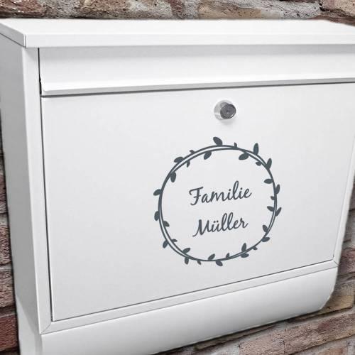 """Briefkasten Namensschild """"Kranz mit Namen"""" Aufkleber personalisierbar"""