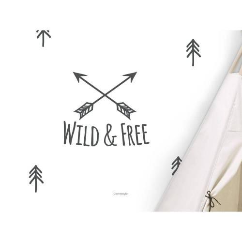 """Wandtattoo, Wandsticker """"WILD & FREE"""", Größen S und M, Farbe individualisierbar"""