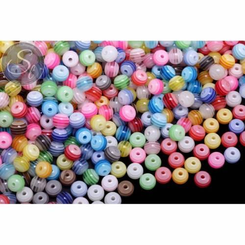 20 Stk. Kunstharz Perlen gestreift und bunt gemixt ~8mm