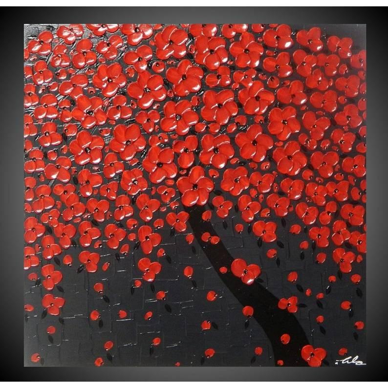 Strukturiertes Acrylbild auf Leinwand in Grau und Rot Baum mit roten Blüten, rote Blumen, Baumbilder Bilder für Wohnzimmer Leinwandbilder Bilder Kunst Malerei Gemälde by ilonka Bild 1
