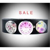 Armbanduhr,Lederuhr, Uhr, Druckknopf, Buttons, Quarzuhr, echt Leder, Armband, SALE Bild 1