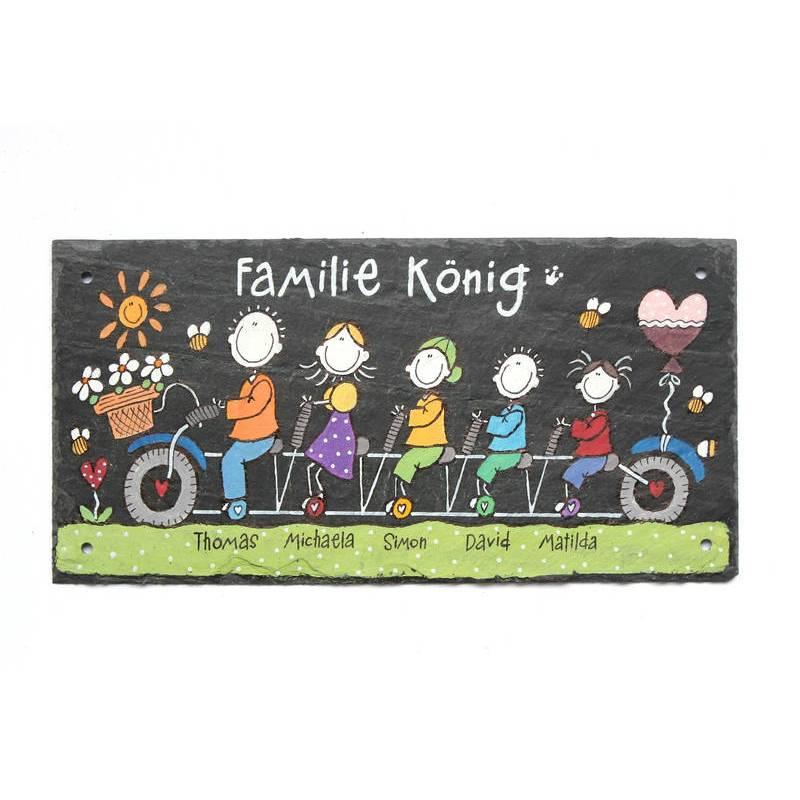 Schieferheld Schiefertürschild Familie auf Fahrrad Schiefertafel handbemalt Namensschild Familie personalisiert Bild 1