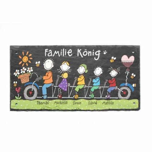 Schieferheld Schiefertürschild Familie auf Fahrrad Schiefertafel handbemalt Namensschild Familie personalisiert