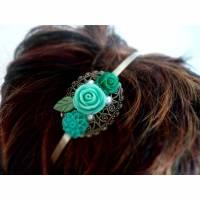 verzierter Haarreif, Vintage-Stil, Haarreifen, Cabochon, Blume, Haarschmuck,Hochzeit, Fest, Kommunion Bild 1