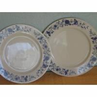 2 Teller Porzellanteller Limoges weiß blau Speiseteller vintage shabby floresia Bild 1