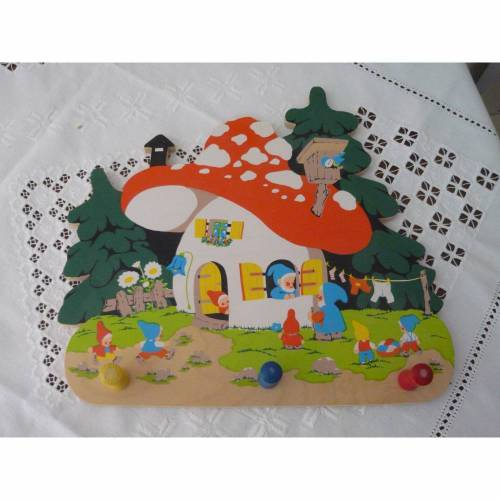 Garderobenleiste Hakenleiste Kinderzimmer 3 Haken Leiste Kinder vintage Wandgarderobe Pilz