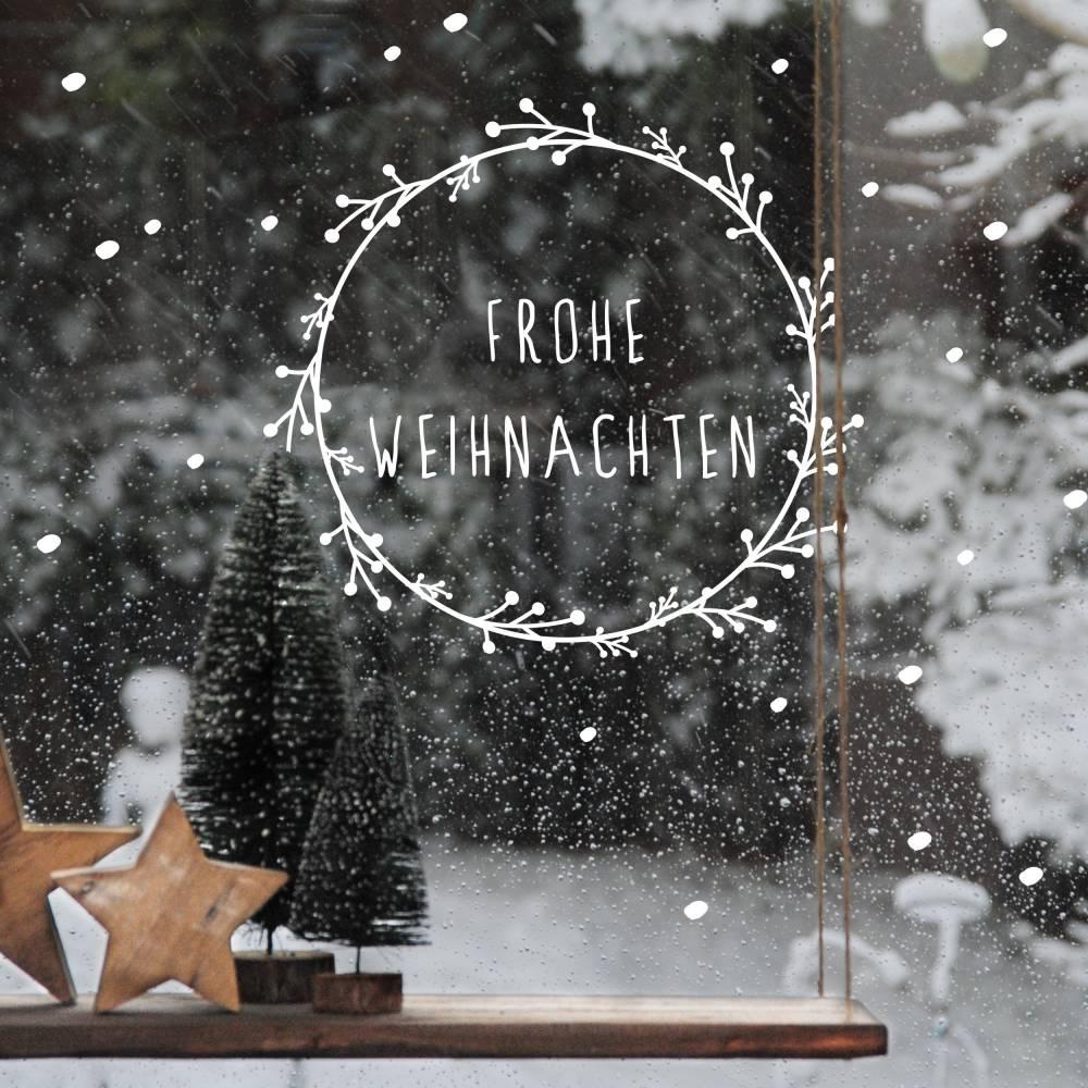 """Fenstersticker """"Weihnachtskranz"""" Frohe Weihnachten mit Schneeflocken Bild 1"""