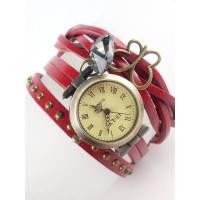 Armbanduhr, Lederuhr, Damenuhr, echt Leder, Vintag-Stil,Quarzuhr,uhr,Wickeluhr , Schmetterling,U1 Bild 1