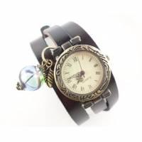 Armbanduhr, Wickeluhr, Lederuhr, echt Leder, Wickeluhr, Vintage-Stil, römische Zahlen, Uhr, Quarzuhr,Damenuhr,Schnallenverschluss, U77 Bild 1