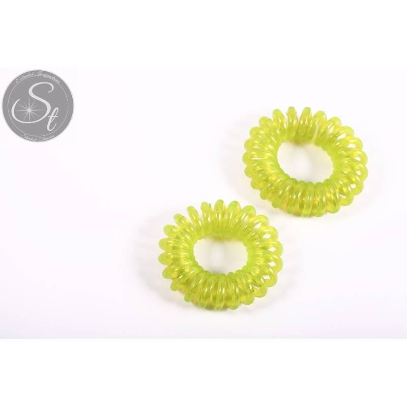 """2 Stk. grüne elastische """"Telefonkabel"""" Haarbänder 35-40mm Bild 1"""
