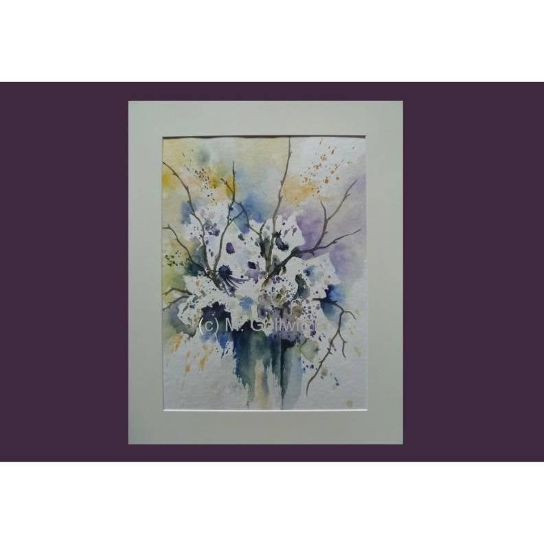 Blumenaquarell weisse Blumen abstrakt weiss Original Aquarellbild Blumenmalerei Blumenbild Bild 1