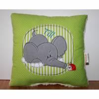 Namenskissen, Kuschelkissen Doodle Stickerei Elefant oder Hund und Namen 30x30 cm Bild 1