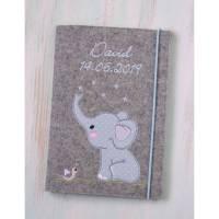 U-Heft Hülle Elefant aus Wollfilz mit Namen Bild 1
