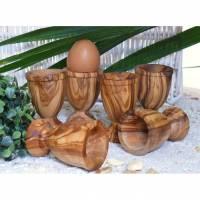 Eierbecher gedechselt (6er Set) aus Olivenholz Bild 1