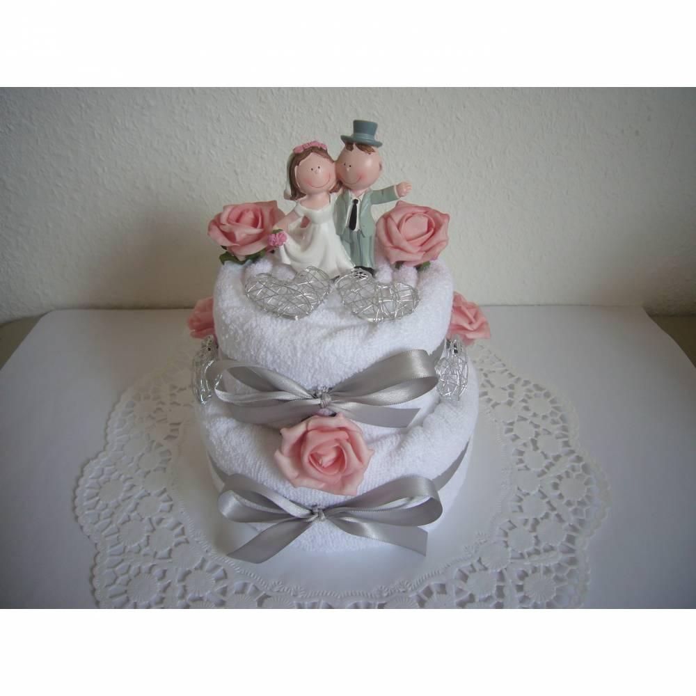 Hochzeitsgeschenk Herzen und Rosen Geschenk Hochzeit Handtuchtorte Bild 1