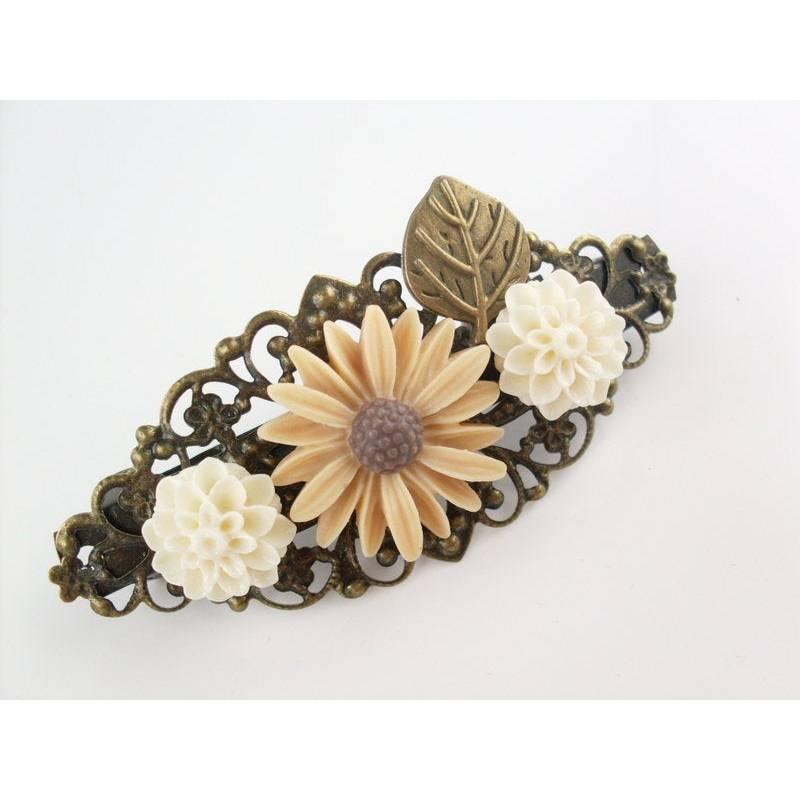 verzierte Haarspange, Vintage-Stil, Haarschmuck,Hochzeit, Fest, Kommunion,Blumen, Rosen, Cabochon, bronze Bild 1
