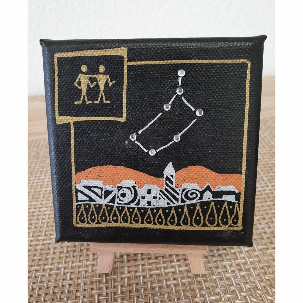 Sternzeichen Zwilling, Acrylmalerei auf Minikeilrahmen Bild 1