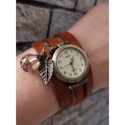 Armbanduhr, Wickeluhr, Uhr, Damenuhr, Lederuhr, Vintage-Stil, Farbauswahl, Harzkugel,Blüten