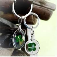 Anhänger Kleeblatt, Glück, Glücksbringer,Geschenk, Schlüsselanhänger, Taschenbaumler Bild 1