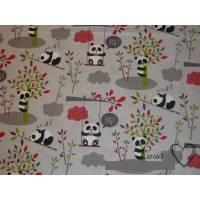 11,60 EUR/m Stoff Baumwolle Panda Pandipanda hellgrau Kinder