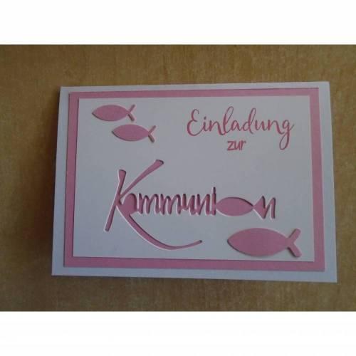 Einladungskarten zur  Kommunion , Einladungskarte,Fisch,Einladung,Einladungen,Mädchen,Junge,Grußkarte,Klappkarte,Rosa