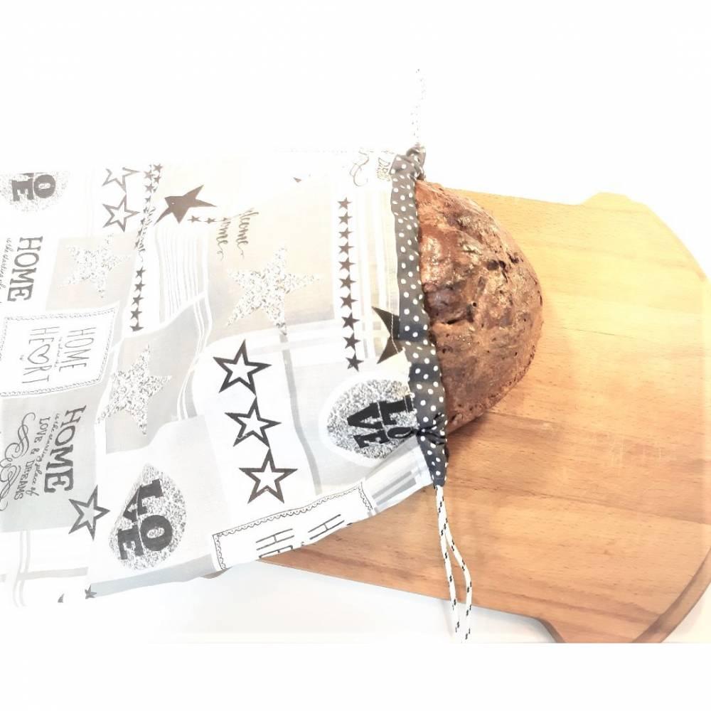Brotbeutel aus Baumwolle, Stoffbeutel für Brot und Brötchen in 2 Größen  Bild 1
