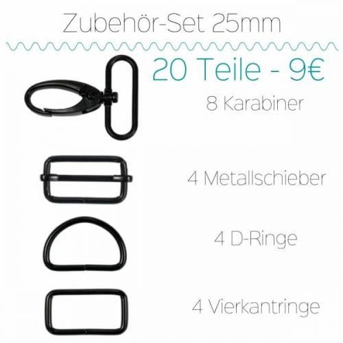 Metallzubehör 25mm schwarzmatt 20 Teile
