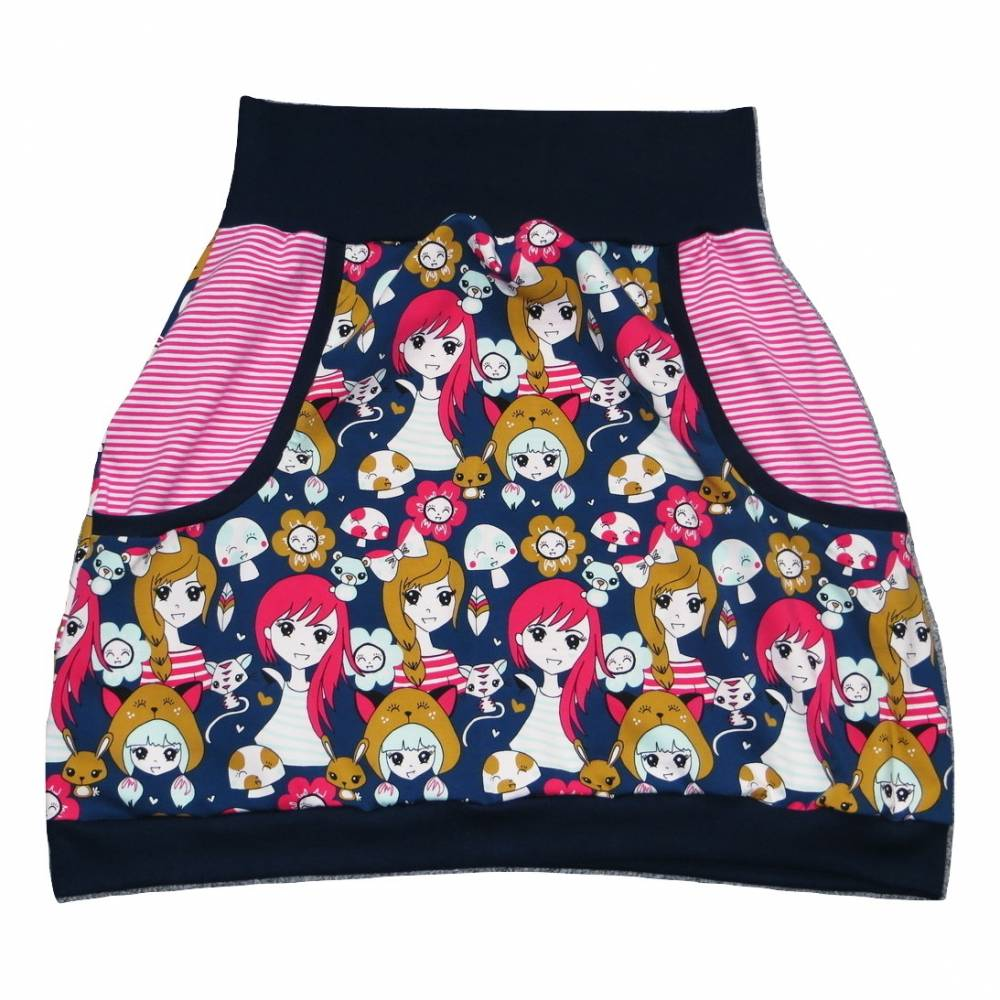 Damen Pumprock, Ballonrock Gr. 40, Manga Motiv, Comic Motiv, Girls, dunkelblau, pink Bild 1