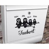 """Briefkasten Namensschild """"Tauben"""" Name & Farbe personalisierbar Bild 1"""