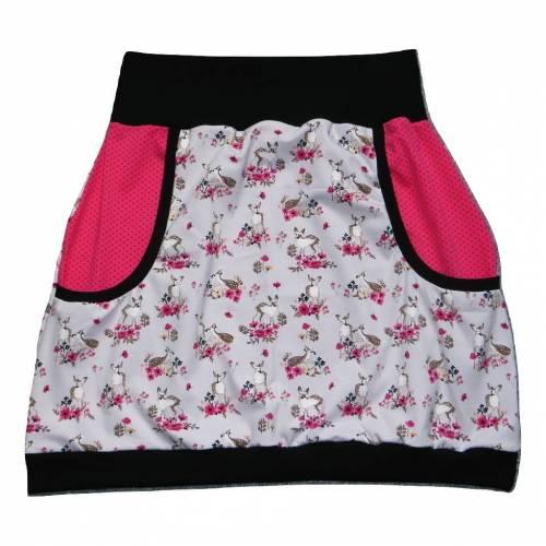 Damen Pumprock, Ballonrock Gr. 40, romantisch, verspielt, Rehe, Blumen, grau, schwarz, pink