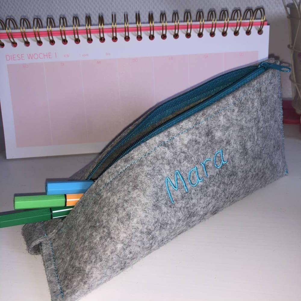 Stiftemäppchen Wollfilz PECILCASE Etui Universaltäschchen personalisierbar Bild 1