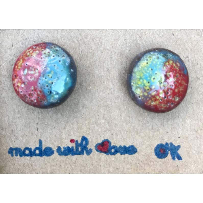 Runde Keramik-Ohrstecker - Rot-Blau-Gelb glasiert, handmade Bild 1