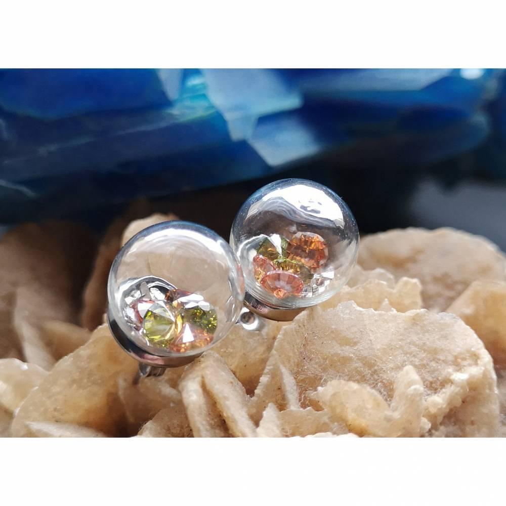Ohrringe, Ohrstecker,  Edelstahlohrringe, Glasperlen, Diamantschliff, Hohlperle Bild 1