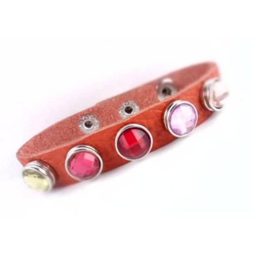 Armband mit Wechselbuttons , Druckknöpfe Gr. S, Armband echt Leder, Lederarmband, Druckknopfverschluss, 20