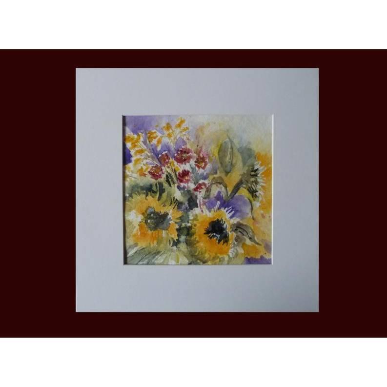 Aquarellbild gelbe Sonnenblumen abstrakt bunt Original Blumenaquarell Gesschenk  Bild 1